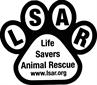Life Savers Animal Rescue (Polson, Montana) logo of paw with LSAR and text Life Savers Animal Rescue