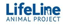 LifeLine Animal Rescue (Atlanta, Georgia) logo is blue with a cat & dog under the N