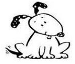 Linda's Magnificent Mutts Rescue (Hillside, Illinois) logo is a black and white cartoon drawing of a dog