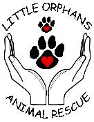 Little Orphan's Animal Rescue (Montello, Wisconsin) logo has hands open with paw prints in between the hands