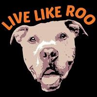 Live Like Roo Foundation (Chicago, Illinois) logo of dog pitbull head with text Live Like Roo