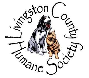 Livingston County Humane Society (Pontiac, Illinois) logo is a dog and cat encircled by the organization name