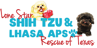 "Lone Star Shih Tzu & Lhasa Apso Rescue (Houston, Texas) logo has Shih Tzu & Lhasa Apso dogs with the org name with pawprint ""o"""