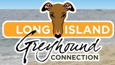 Long Island Greyhound Connection (West Babylon, New York) logo has a beach & the org name with a greyhound face looking over it