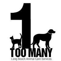 "Long Beach Animal Care Services (Long Beach, California) logo is ""1 Too Many"" with the ""1"" between a dog and cat"