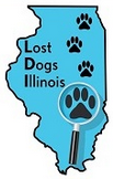 Lost Dogs Illinois (Harvard, Illinois) logo of Illinois state, paws and magnifying glass with text Lost Dogs Illinois