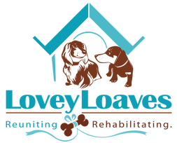 LoveyLoaves Rescue & Sanctuary (Orlando, Florida) logo has two dachshunds in front of a house above the org name