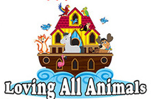 Loving All Animals (Palm Desert, California) logo is an ark with happy animals and birds on and around it