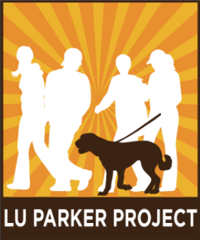 Lu Parker Project (Los Angeles, California) logo has several people walking a dog with a sunburst behind them above the org name