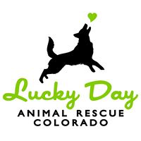 Lucky Day Animal Rescue (Aspen, Colorado) logo of black dog catching green heart and text Lucky Day Animal Rescue