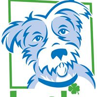 Lucky Dog Animal Rescue (Arlington, Virginia) logo of blue and white dog with collar and green shamrock