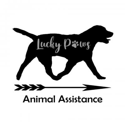 Lucky Paws Animal Assistance, Inc. (Williamstown, New Jersey) logo dog walking and arrow