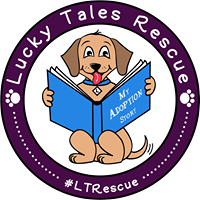 Lucky Tales Rescue (Ft. Thomas, Kentucky) logo of dog reading book 'My Adoption Story', purple circle, paws #LTRescue