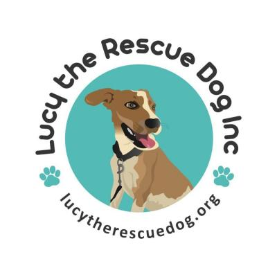 Lucy the Rescue Dog (New Paltz, New York) logo with tan dog in teal circle surrounded by organization name