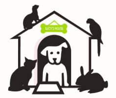 Lucy's House for the Prevention of Homeless Pets (Essex Junction, Vermont) logo of house, dog, cat, bunny, rabbit, ferret