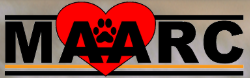 Maryville Alcoa Animal Rescue Center (Maryville, Tennessee) logo with red heart with paw print in the middle behind MAARC
