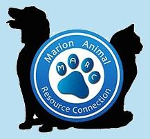 Marion Animal Resource Connection (Jasper, Tennessee) logo of dog, cat, blue circle, paw with MARC, and text