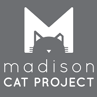 "Madison Cat Project (Madison, Wisconsin) logo is an ""M"" with a cat head above the organization name"