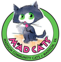 Madison Community Cats (Syria, Virginia) logo with gray cartoon cat with tongue out in green circle