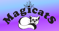 "Magicats (Buhl, Idaho) logo is a cat lying under the organization name with rays coming off the dot on the ""i"""