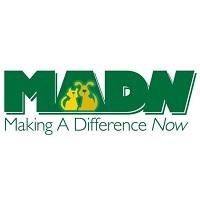 "Making a Difference Now (Lexington, Kentucky) logo is ""MADN"" with a dog and cat inside the ""A"" above the organization name"