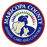 Maricopa County Animal Care and Control (Phoenix, Arizona) logo is a dog, cat, and person inside a circle with the org name