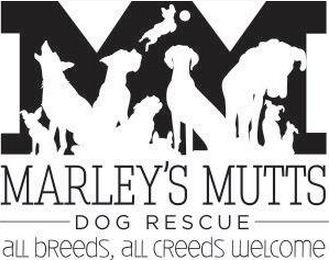 Marley's Mutts Dog Rescue (Tehachapi, California) logo with M and silhouettes of dogs, all breeds, all creeds welcome