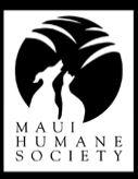 Maui Humane Society (Puunene, Hawaii) logo of dog, cat silhouette, palm tree leaves, Maui Humane Society