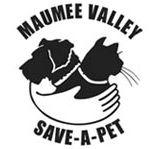 Maumee Valley Save-A-Pet (Toledo, Ohio) logo of black-and-white dog, cat, hand, hug, Maumee Valley Save-A-Pet