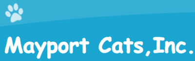 Mayport Cats, Inc. (Jacksonville, Florida) is the organization name on background with two shades of blue and a pawprint