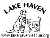 Lake Haven Animal Rescue (Newaygo, Michigan) logo is a drawing of a dog and cat surrounded by the org name