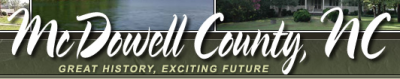 McDowell County Animal Shelter (Marion, North Carolina) logo with name of county in script in front of landscape images