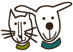 MCPAWS Regional Animal Shelter (McCall, Idaho) logo of smiling cat and dog cartoon silhouette, MCPAWS Regional Animal Shelter