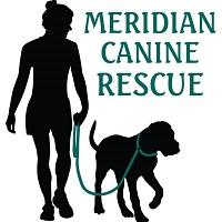 Meridian Canine Rescue (Meridian, Idaho) logo is a shadow person walking a shadow dog with a green leash next to the org name