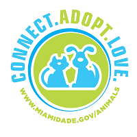 Miami-Dade County Animal Services (Doral, Florida) logo of green circle, blue dog and cat, connect, adopt, love