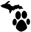 Michigan Animal Adoption Network (Troy, Michigan) logo of Michigan state, paw print, Michigan Animal Adoption Network
