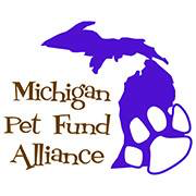 Michigan Pet Fund Alliance (Bloomfield Hills, Michigan) logo of purple Michigan state and white paw print