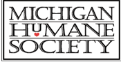 Michigan Humane Society (Bingham Farms, Michigan) logo of black rectangle, text, Michigan Humane Society, red heart
