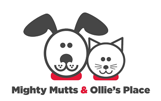 Mighty Mutts (New York, New York) logo is black and white cat and dog faces next to each other with red collars