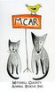 "Mitchell County Animal Rescue (Spruce Pine, North Carolina) logo is a dog & cat sitting next to a ""MCAR"" sign with a bird on it"