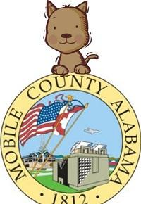 Mobile County Animal Shelter (Mobile, Alabama) logo is a brown dog looking over the Mobile city seal
