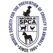 Mobile Society of Prevention of Cruelty to Animals (Mobile, Alabama) logo has the name, a dog, cat, chicken, & horse on a flag