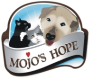 "Mojo's Hope (Anchorage, Alaska) logo is a dog and two cats looking over a banner with the org name and a heart dotting the ""j"""