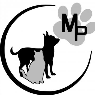 Monkey's Pack Inc (Manchester, Connecticut) logo dog and cat in circle pawprint