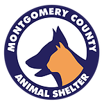 Montgomery County Animal Shelter (Conroe, Texas) logo of purple circle with purple dog and yellow cat silhouette