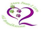 More Paws 2 Love All Breed Rescue (Killeen, Texas) logo of purple heart and green and purple paw prints and text