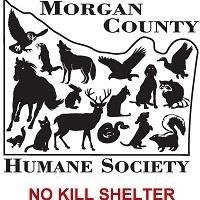 Morgan County Humane Society (Hartselle, Alabama) logo of county map, animals, horse, bird, dog, cat, skunk, snake, rabbit