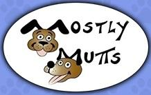 "Mostly Mutts Animal Rescue and Adoptions (Kennesaw, Georgia) logo is ""Mostly Mutts"" with the M's made by a dog's ears"