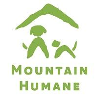 Mountain Humane (Hailey, Idaho) logo of green mountain top, dog and cat, Mountain Humane