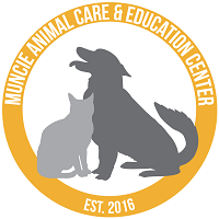Muncie Animal Care & Services (Muncie, Indiana) logo is a dog and cat sitting in a circle with the org name and established date